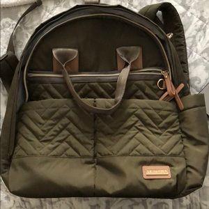 Skip Hop olive green diaper backpack